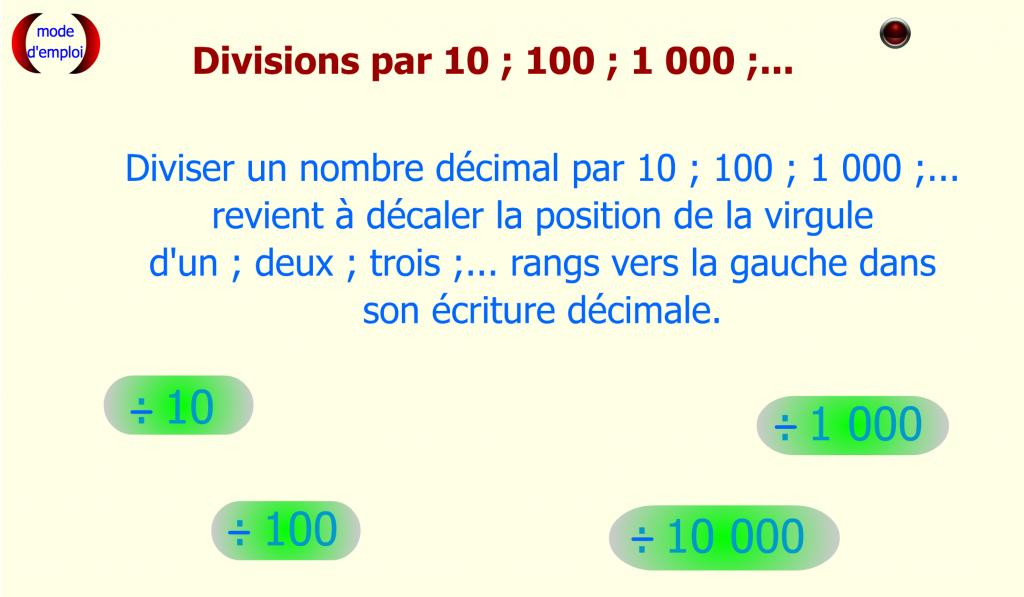 Diviser décimal par 10