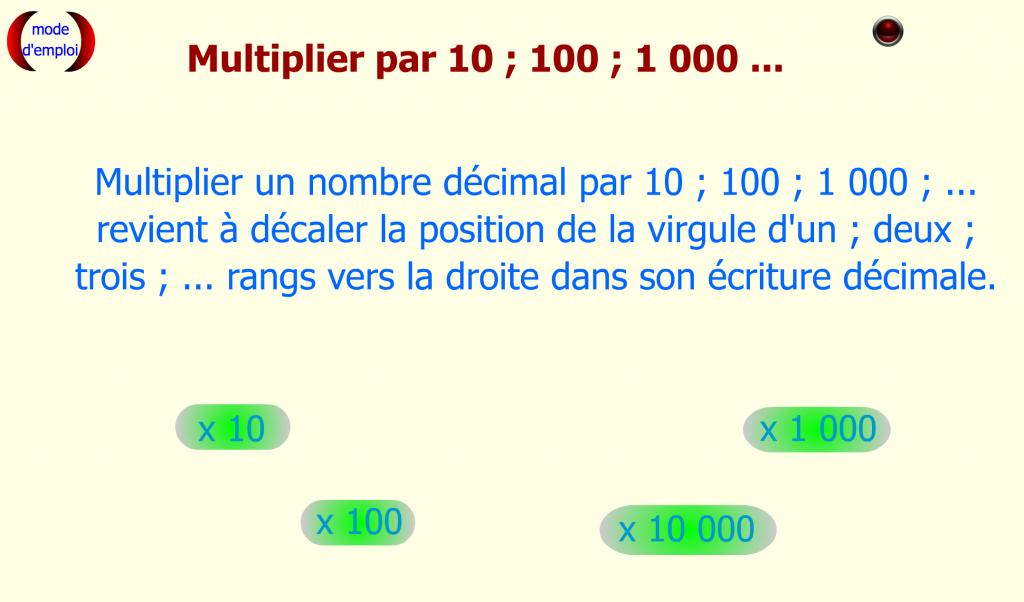 Multiplier décimal par 10